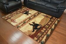 5X8 Lodge Cabin Area Rug Brown Beige Rustic Cowboy Horses Western Decor Texas