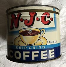 RARE 1LB N.J.C. KEYWIND COFFEE TIN CAN CORRECT TOP LID GREAT CUP GRAPHICS