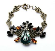 B450 Betsey Johnson Vintage Downton Abbey Dark Gem Crystal Gemstone Bracelet US