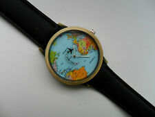 UNUSUAL  World Map // Globe Quartz Aeroplane Watch Black Denim Strap