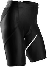 SUGOI Tri Pocket Short Womens Medium Piston Compression Black White Run Bike