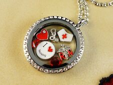 NURSE NURSING RN III FLOATING CHARMS IN 30MM LOCKET WITH SILVER NECKLACE
