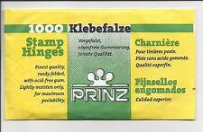 Package of 1000 Prinz Supersafe or Uni-Safe Stamp Hinges