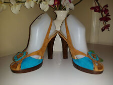LAUNDRY by SHELLI SEGAL BLUE/BROWN  VERO CUOIO LEATHER SOLE HEEL SHOES 7,5M