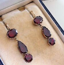 Antique Georgian Gold Garnet Drop Earrings C1800's