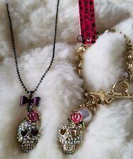 Betsey Johnson skull charms set of 2 Necklace & Bracelet
