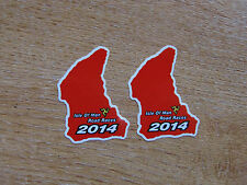 X2 Isle Of Man Tt Razas 2014 curso mapa sticker Rojo 50 Mm De Alto
