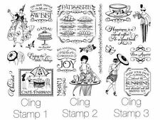 "GRAPHIC 45 ""CAFE PARISIAN"" CLING STAMPS 1, 2 & 3  SCRAPJACK'S PLACE"