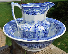 Lovely Antique Mason's Ironstone Blue Transferware Pitcher & Wash Bowl Set