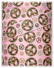 "7/8"" CAMO PEACE SIGN CAMOFLAUGE GROSGRAIN RIBBON 4 HAIRBOW BOW MILITARY PINK"