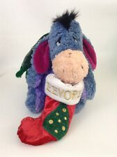 "2001 Disney Store Exclusive Eeyore Christmas Stocking 12"" Plush Stuffed Animal"