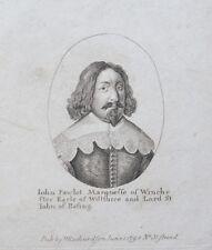 Gravure XVIIème - Portrait de John Pawlet, Marquis of Winchester -  Wenceslaus