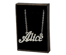 "Name Necklace ""ALICE"" - 18ct White Gold Plated - Birthday Accessories Christmas"