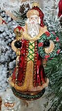 Santa Septer Pointsettia Wreath Glass Christmas Tree Ornament Poland 020068