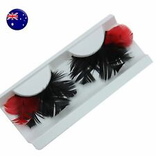 NEW Black Red Costume Feather Exaggerated Party Fake False Eyelashes Eye lashes