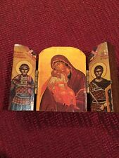 Miniature Triptych Madonna Mary Carved Wooden Icon Religious