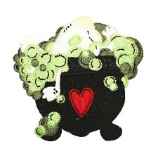 ID 0895 Bubbling Heart Cauldron Witch's Brew Halloween Iron On Applique Patch