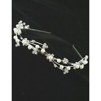 Ladies Silver Tone Crystal & Pearl Tiara Headband Wedding Bride Bridesmaid Boxed