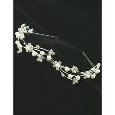 Ladies Silver Tone Crystal & Pearl Tiara Headband Wedding Bride Bridesmaid