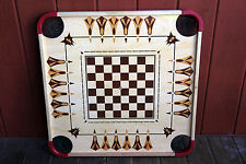 "Large Vintage Carrom Game Board  28"" x 28"" checkers chess wood 2 sided pockets"