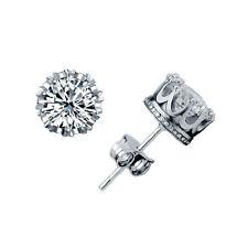Classical 925 Sterling Silver Crystal Rhinestone Crown Set Ear Stud Earrings