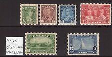 Canada 1935 Jubilee SG335/40 George VI multiple, multi-colour, cents L/ hinged