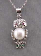 925 Sterling Silver Freshwater Pearl Cubic Zirconia Owl Necklace Jewelry NEW