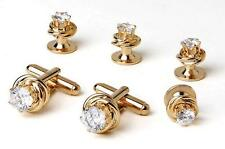 NEW Mens Gold Love Knots w/ Cubic Zirconium Stone Cuff Links  Studs Gift Box Set