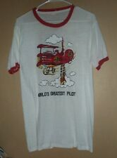 VINTAGE 1975 2-TONE SNOOPY AND THE RED BARON PHOTO PRINT T-SHIRT -M/L !