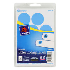 """Avery Printable Removable Color-Coding Labels, 1 1/4"""" Dia, Light Blue, 400/pac"