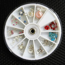 12 Pcs Rhinestones Dangles UV Gel Acrylic False Nail Art Tips Decoration Wheel