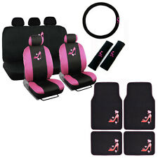 New Love Pink High Heels Car Front Back Seat Covers Floor Mats & Wheel Cover Set