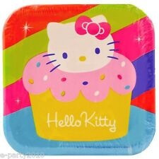 HELLO KITTY Cupcake SMALL PAPER PLATES (8) ~ Birthday Party Supplies Dessert