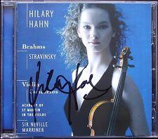 Hilary HAHN Signed BRAHMS STRAVINSKY Violin Concerto MARRINER CD Violinkonzerte