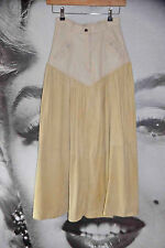 70's vintage maxi skirt western cowgirl leather suede calf skin ivory boho XMAS