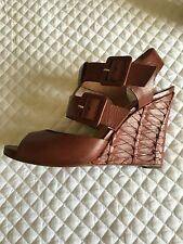 UTERQUE ALL LEATHER BROWN WEDGE OPEN TOE SANDAL SIZE 8 USA 39 EUROPE