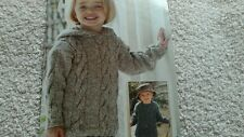 Knitting pattern girls/boys sweaters hooded/round neck - Cable design in 6 sizes