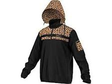 New Adidas Original Black w/ Leopard Print Windbreaker Hood Jacket Men L M33844