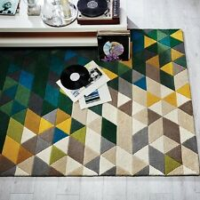 Modern Illusion Prism Green / Multi Colour Handmade Wool Rugs 80x150cm