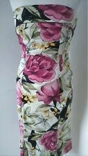 Karen Millen Lovely Fitted Strapless Black Floral Dress Wiggle Pencil  UK 10