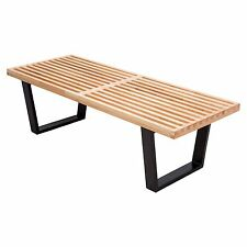 Mid-Century George Nelson Style Platform Bench Natural Wood 4 Feet