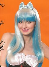 NEW Adult Fanciful Swirl Wig Long Blonde & Blue Hair w/ Bangs Headband Hair Bow