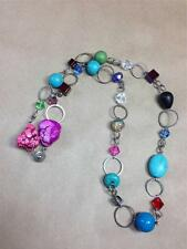 Vintage TENG YUE Dyed Howlite & Art Glass Bead Chain Link Necklace