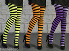 NEW LADIES STRIPED STRIPEY NEON NYLON TIGHTS WITCH HALLOWEEN FANCY DRESS COSTUME