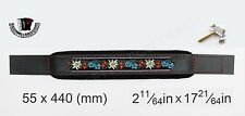 ACCORDION BASS STRAP FOLK Black Leather  Black Velvet 440x55 With Hardware Italy