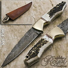 "8.5"" ROYAL CUSTOM HAND MADE DAMASCUS HUNTING KNIFE - FULL TANG - RO-3703"