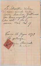 55459 - ITALIA REGNO - STORIA POSTALE:  Sass 15 usato come FISCALE - TORINO 1892