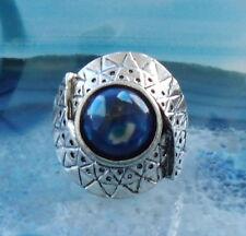Ring Vintage Stil Tibet Silber verschlungen blau Muscheln Perlmutt in Resin Harz