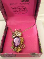 BETSEY JOHNSON NECKLACE, JEWELED OWL PENDANT, GOLDTONE  in box $35