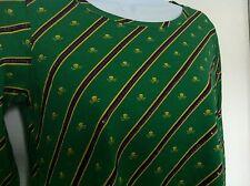 Ralph Lauren Girls Shirt Green Yellow Skull Crossbones LS Size M (8-10) NWT